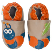 Momo Baby Infant/Toddler Soft Sole Leather Shoes - Hungry Caterpillar Taupe