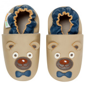 Momo Baby Infant/Toddler Soft Sole Leather Shoes - Mr. Bear Taupe