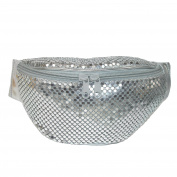 CTM® Womens Sequin Sparkling Mesh Fanny Waist Pack, Silver