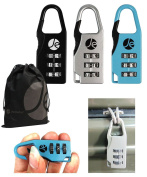 3- Dial Combination Luggage Metal Lock 3 Pack with Bonus Free Travel Bag