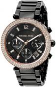 Michael Kors Parker Chronograph Black Dial Black Ion-plated Ladies Watch MK5885