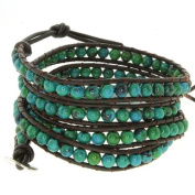 70cm Blue/Green Beads on Dark Brown Leather Wrap Bracelet with Snap Button Lock