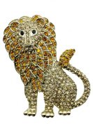 Lion Pin Brooch Gorgeous Topaz Colour Crystal Gold Metal Animal King Y15