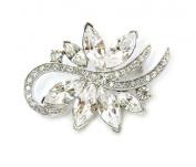 Pin Brooch Clear Crystal Floral Bridal Bridesmaid Flower Girl Wedding Party