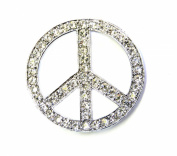 Peace Sign Pin Brooch Gorgeous Clear Crystal