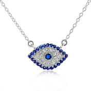 Bling Jewellery 925 Sterling Silver Good Luck Simulated Sapphire CZ Evil Eye Necklace 41cm