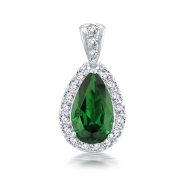 Bling Jewellery Vintage Style Simulated Emerald Green CZ Teardrop Pendant Rhodium Plated