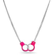 Bling Jewellery Secret Shades Pink Stainless Steel Handcuff Necklace