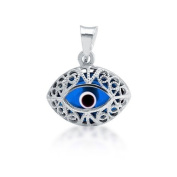 Bling Jewellery 925 Sterling Silver Blue Evil Eye Pendant