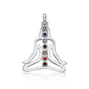 Bling Jewellery Buddha Chakra 925 Sterling Silver Pendant Multi Colour CZ Stones