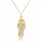 Bling Jewellery Gold Plated CZ Flip Flop Pendant Necklace Beach Jewellery 41cm
