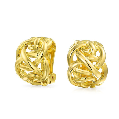 Bling Jewellery Gold Plated Celtic Knot Half Hoop Clip On Earrings