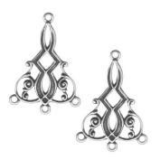Antiqued Silver Plated Deco Scroll 3 Ring Chandelier Earring Drops