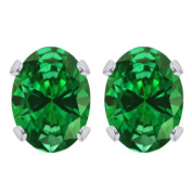 Sterling Silver 2.60 Ct Oval Cut Created Emerald Stud Earrings 8X6MM