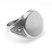 Antiqued Silver Plated Radiating Diamond Glue-On 15mm Round Signet Ring Adjustable