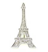 Eiffel Tower Pin Brooch Paris Clear Rhinestone Crystal