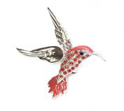 Hummingbird Pin Brooch Red Rhinestone Crystal P18