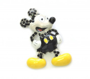 Mickey Mouse Pin Brooch Black Crystal Enamel C65