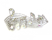 Sparkling AB Crystal Treble Clef Music Note Pin Brooch