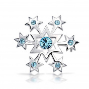 Bling Jewellery Blue Crystal Sterling Silver Star Snowflake Polished Pin Brooch