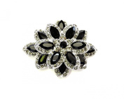 Gorgeous Black Crystal Chunky Floral Pin Brooch Pendant C326