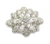 Clear Crystal Floral Chunky Pin Brooch Pendant Bridal Wedding Party Prom C150