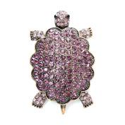 Amethyst Colour Rhinestone Crystal Turtle Pin Brooch F48