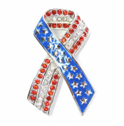 Multi Rhinestone Crystal Usa Flag Ribbon Pin Brooch C702