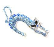 Blue Rhinestone Crystal Kitty Cat Pin Brooch E40