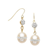Crystaluxe 8 mm Freshwater Pearl Drop Earrings with. Crystals in 14K Gold