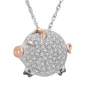 1/5 ct Diamond Piglet Pendant in Sterling Silver & 14K Rose Gold