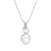 Freshwater Pearl Pendant with Diamond in 10K White Gold