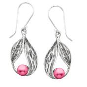 Pink Freshwater Pearl Leaf Earrings in Sterling Silver