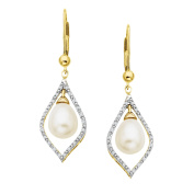 Freshwater Pearl and 1/8 ct Diamond Drop Earrings in 14K Gold