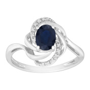Natural Dark Sapphire Ring with Diamonds in 10K White Gold