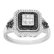 1/2 ct White & Black Diamond Cushion Ring in 14K White Gold