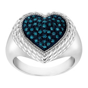 1/4 ct Blue Diamond Cabled Heart Ring in Sterling Silver