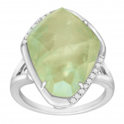 9 5/8 ct Natural Prynite Ring with Diamonds in Sterling Silver