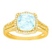1 7/8 ct Natural Aquamarine & 1/6 ct Diamond Ring in 14K Gold