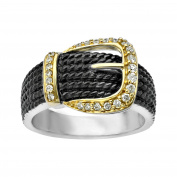 1/5 ct Diamond Buckle Ring in Sterling Silver & 14K Gold