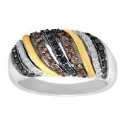 1/2 ct Black, White & Brown Diamond Ring in Sterling Silver & 14K Gold