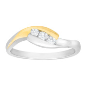 1/6 ct Diamond Three-Stone Ring in Sterling Silver & 14K Gold