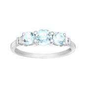 7/8 ct Aquamarine Ring with Diamonds in 10K White Gold