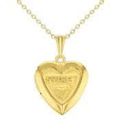 Sweet Love Heart Small Locket Pendant Necklace Girls Teens Kids Gold Tone 41cm
