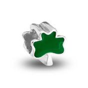 Bling Jewellery 925 Silver Green Shamrock Clover Bead Flower Charm Fits Pandora