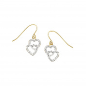 Crystaluxe Girl's Double Heart Earrings with. Crystals in 14K Gold