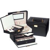 Leather Jewel Box w Removable Attache Black