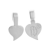 Aanraku, Heart Shaped Glue-On Pendant Bails, Small, 10 Pieces, Silver Plated