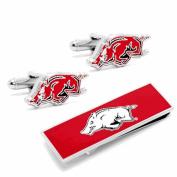 University of Arkansas Razorbacks Cufflinks and Money Clip Gift Set