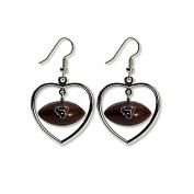 NFL Houston Texans Mini Football Heart Dangler Earrings